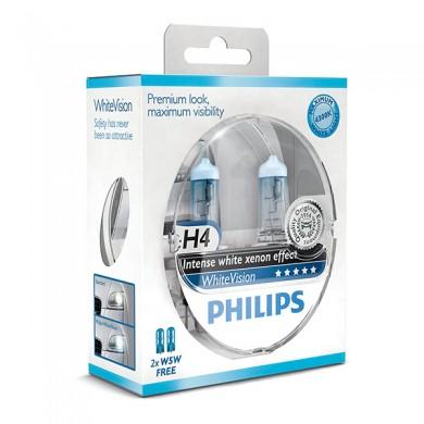 Set Becuri Auto PHILIPS - H4 12V 60/55W P43t  WHITE VISION