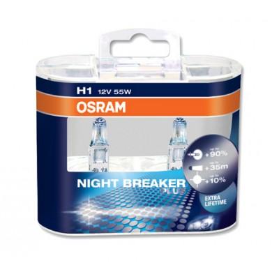 Set 2 becuri OSRAM H1 12V 55W P14,5s NIGHT BREAKER PLUS