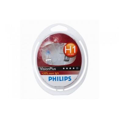 Set de 2 becuri PHILIPS H1 12V 55W P14,5s VISION PLUS