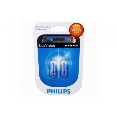 Set Becuri Auto PHILIPS - W5W 12V 5W  W2,1x9,5d BLUE VISION (BLISTER)
