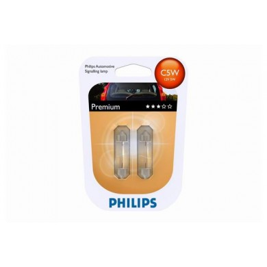 Set 2 Becuri Auto PHILIPS - SV8,5 12V 5W 11/35mm C5W (BLISTER)