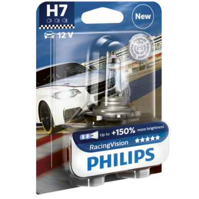 Bec Auto PHILIPS - H7 12V 55W PX26d RACING VISION (+150%) - 12972 RVB1