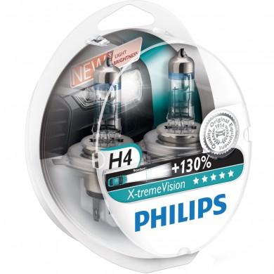 Set Becuri Auto PHILIPS - H4 12V 60/55W P43t   X-TREME VISION PLUS