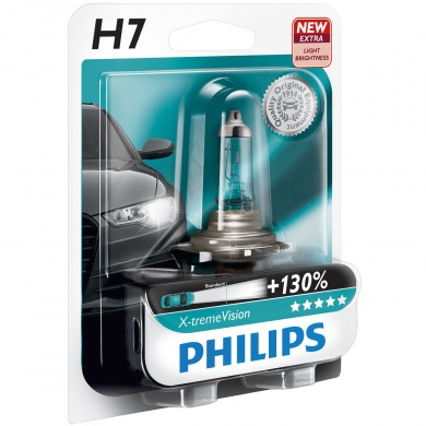 Bec Auto PHILIPS - H7 12V 55W PX26d X-TREME VISION PLUS (+130%) - 12972XV+B1
