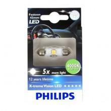 Bec Auto LED - PHILIPS - SV8,5 12V 1W 11/43mm 4000K - 12945 1LED