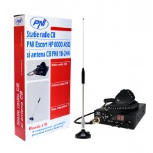 Kit Statie radio auto CB PNI ESCORT HP 8000 ASQ + Antena CB PNI 18-244