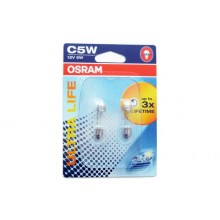 Set 2 Becuri Auto OSRAM - SV8,5 12V 5W 11/35mm C5W  ULTRA LIFE (BLISTER)
