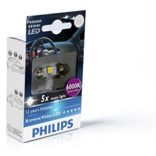 Bec Led Philips Festoon X-tremeVision LED T10, 5x43 6000 K 12V 1W